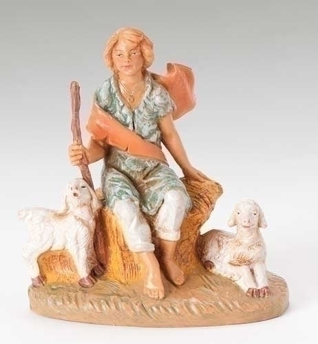 "Peter, sitting shepherd, 5"" Scale [Fontanini]"
