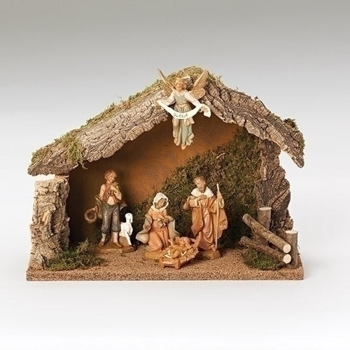 "Nativity, 5 Piece Figure Set with Italian Stable, 5"" Scale [Fontanini]"