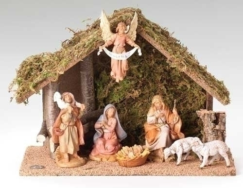 "Nativity, 7 Piece Figure Set with Italian Stable, 5"" Scale [Fontanini]"