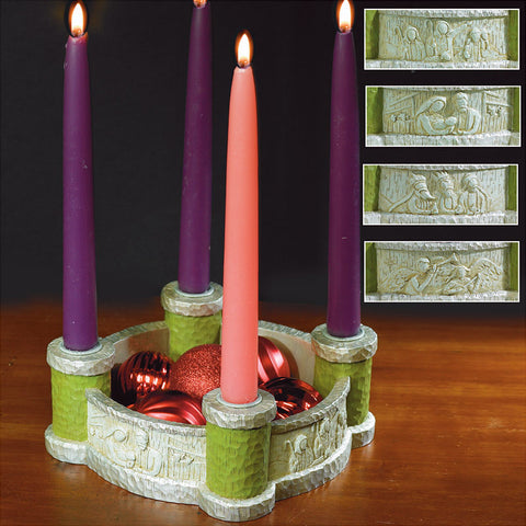 Bethlehem Scenes Advent Wreath/Candles