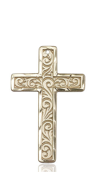 14kt Gold Knurled Cross Medal
