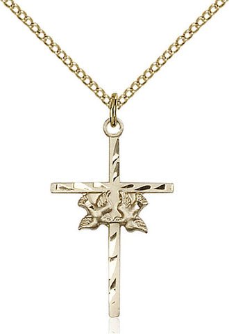Gold Filled Doves / Cross Pendant