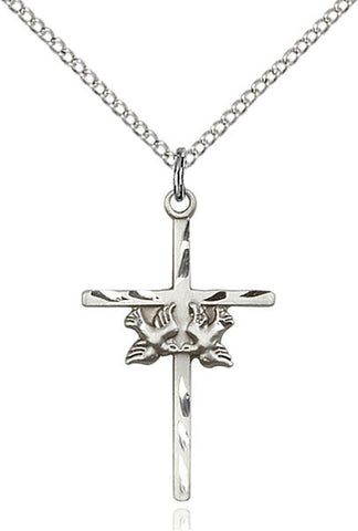 Sterling Silver Doves / Cross Pendant