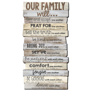 "Our Family will... Wall Plaque 16.5"" x 8.5"""