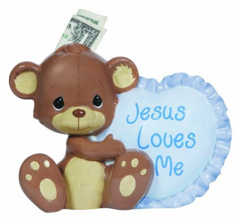 Bank-Jesus Loves Me-Bear Holding Heart-Blue