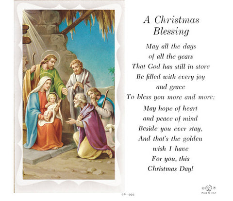 Christmas Blessing Holy Card