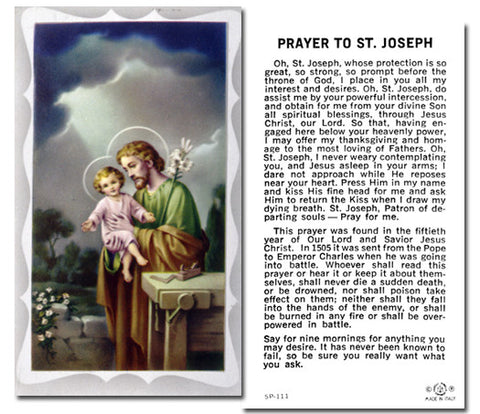 St Joseph  Holy Card W/Prayer