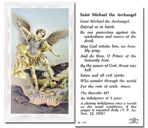 St Michael Holy Card With