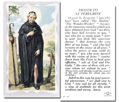 St Peregrine Holy Card With