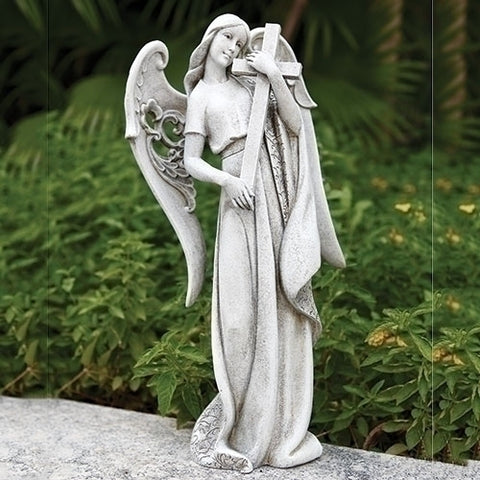 Angel holding Cross Outdoor Statue