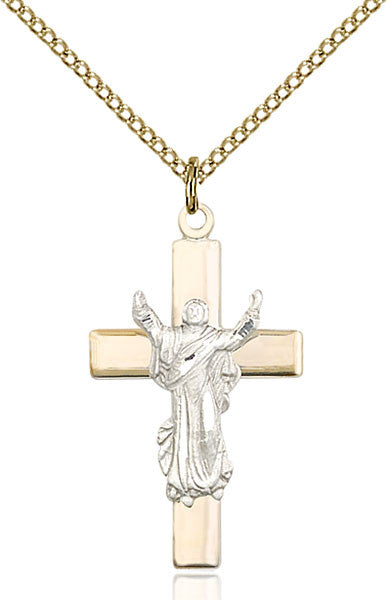 Two-Tone SS/GF Cross Pendant
