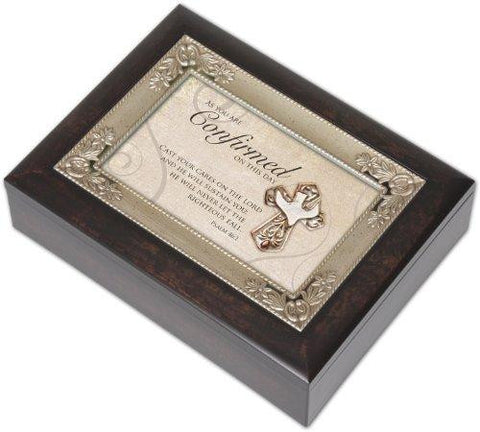 Confirmation Dark Brown Keepsake Music Box