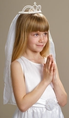 """Natalie"" Pearl Crown First Communion Veil Clothing Roman - St. Cloud Book Shop"