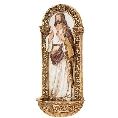 "7.25"" Sacred Heart of Jesus Holy Water Font"