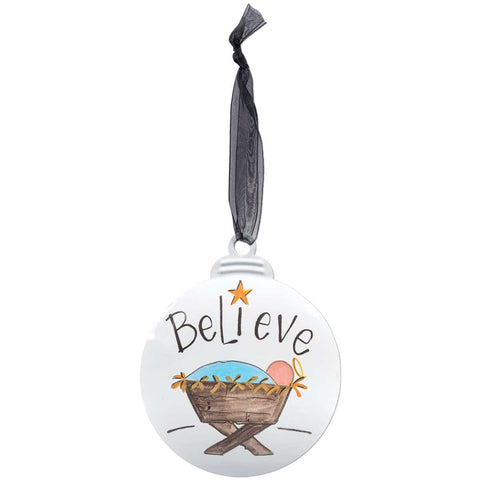 Believe with Baby Jesus Manger Scene Christmas Ornament