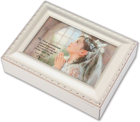 First Communion Ivory Music Box - Girl