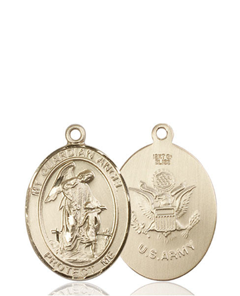14kt Gold Guardian Angel / Army Medal