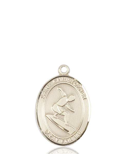 14kt Gold St. Christopher/Surfing Medal
