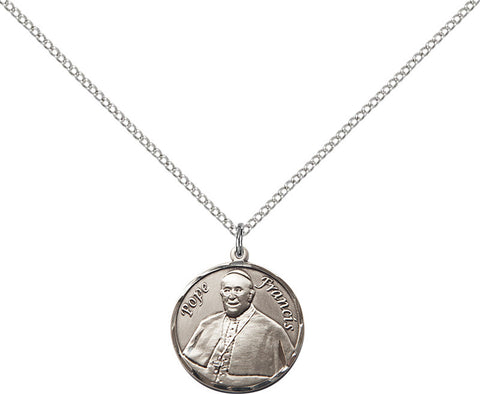 Sterling Silver Pope Francis Round Pendant