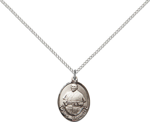 Sterling Silver Pope Francis Oval Pendant