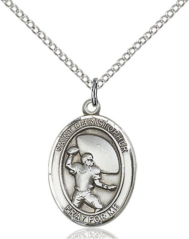 Silver Filled St. Christopher/Football Pendant