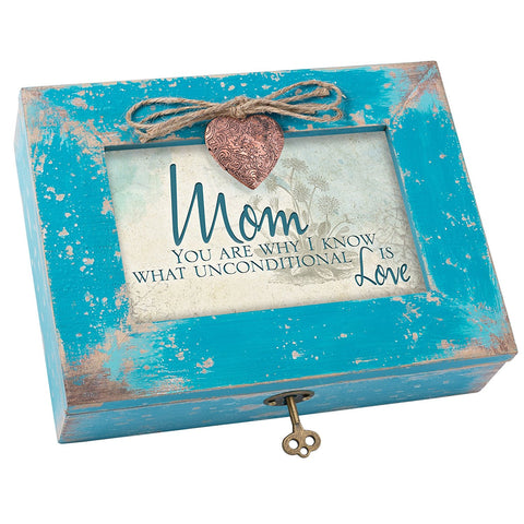 Mom You are Unconditional Love Teal Wood Locket Jewelry Music Box