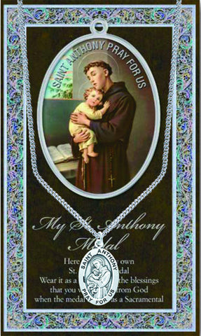 St. Anthony Necklace & Chain with Picture Folder