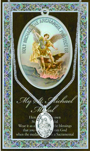 St. Michael Necklace & Chain with Picture Folder