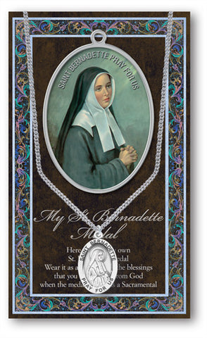 St. Bernadette Necklace & Chain with Picture Folder