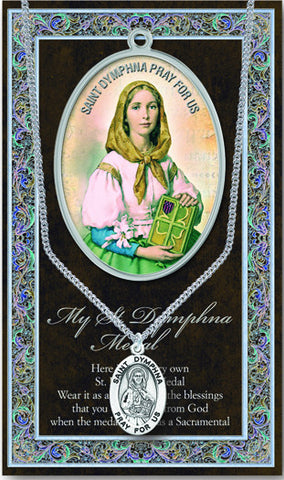 St. Dymphna Necklace & Chain with Picture Folder