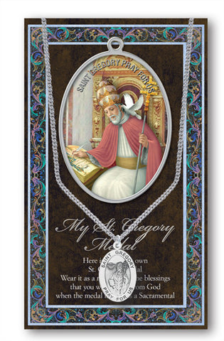 St. Gregory The Great Necklace & Chain with Picture Folder