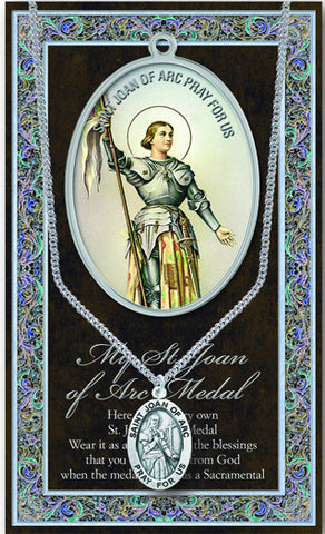 St. Joan of Arc Necklace & Chain with Picture Folder
