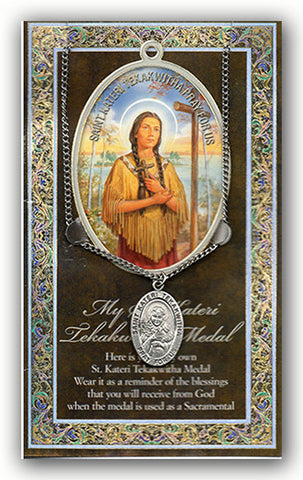 St. Kateri Tekakwitha Necklace & Chain with Picture Folder