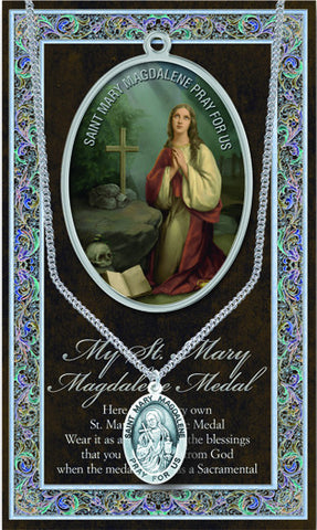 St. Mary Magdalene Necklace & Chain with Picture Folder
