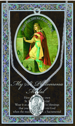 St. Philomena Necklace & Chain with Picture Folder