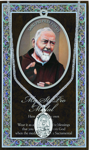 St. Pio  Necklace & Chain with Picture Folder