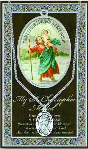 St. Christopher Necklace & Chain with Picture Folder