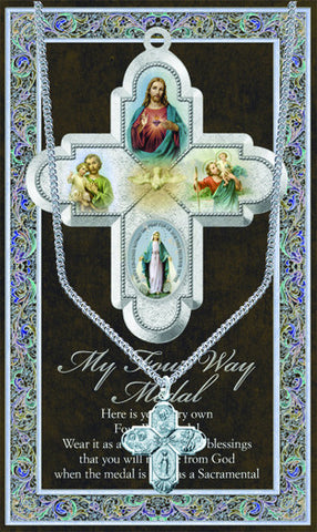 4 Way Scapular Necklace & Chain with Picture Folder