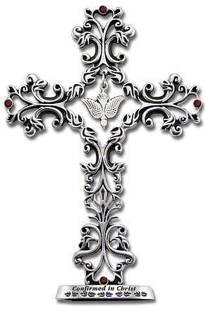 5 In Blessings On Your Confirmation Filigree Standing Cross Gift Boxed