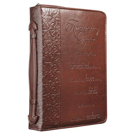Amazing Grace Bible Cover in Brown Large