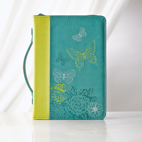 Bible Cover Lime/Dusty Blue Medium