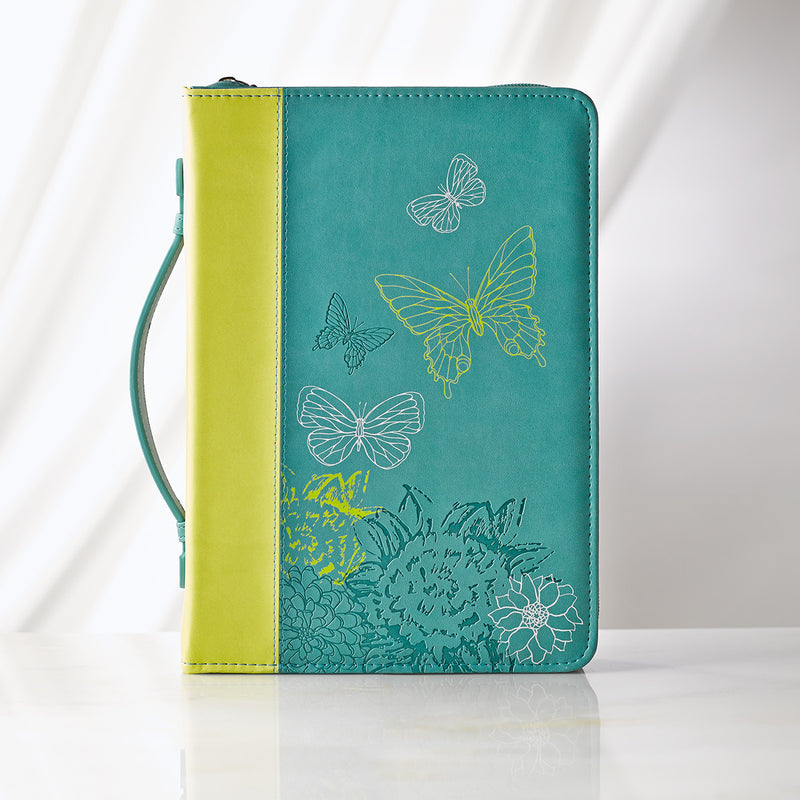 Bible Cover Lime/Dusty Blue Large