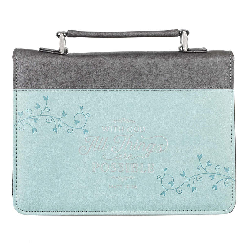 All Things Are Possible Classic Faux Leather Bible Cover in Light Blue - Matthew 19:26