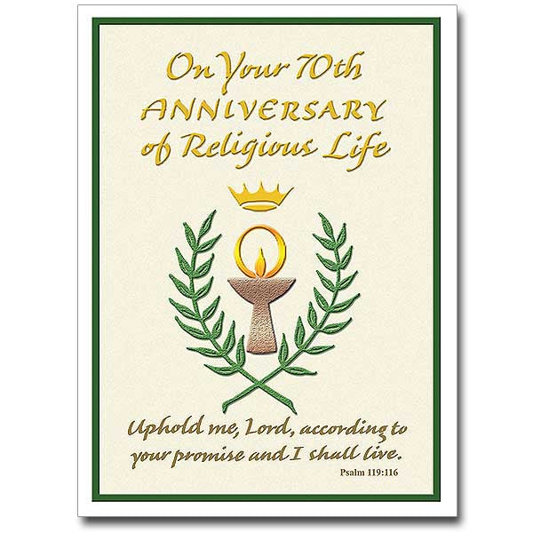 On Your 70Th Anniversary Of... Religious Prof Anniversary Card