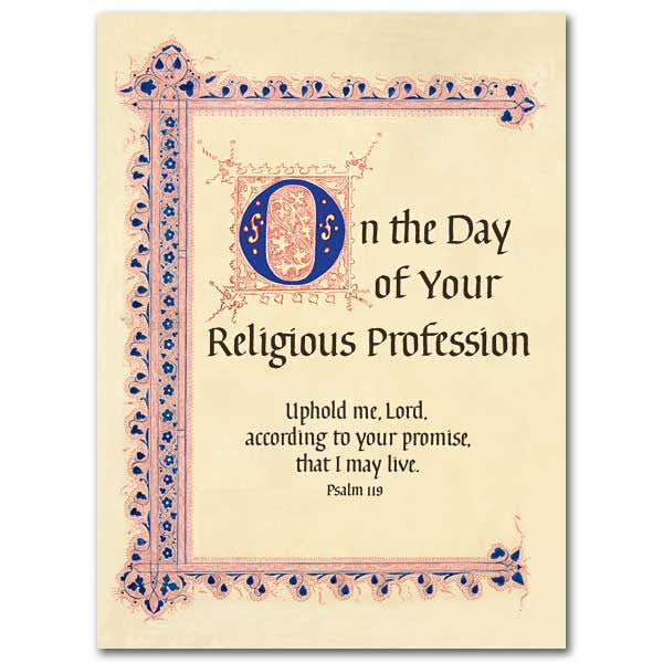 On The Day Of Your Religious... Religious Profession Card