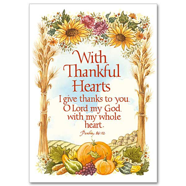 With Thankful Hearts Thanksgiving Card