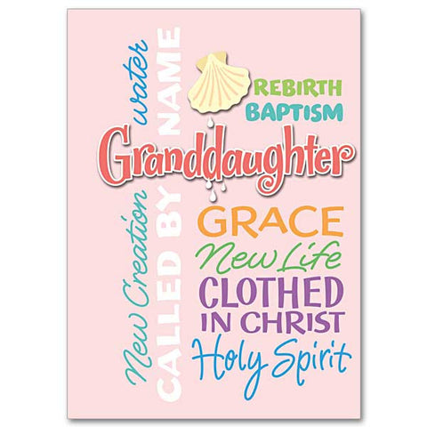 Granddaughter Rebirth Water Granddaughter Baptism Card