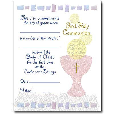 Communion Certificate Pad Of 50