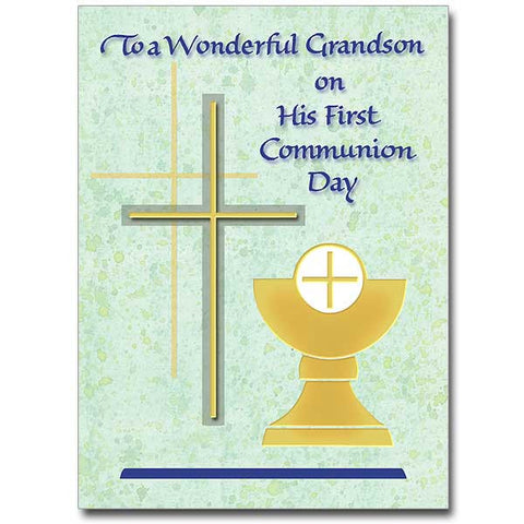 To A Wonderful Grandson... First Communion Card
