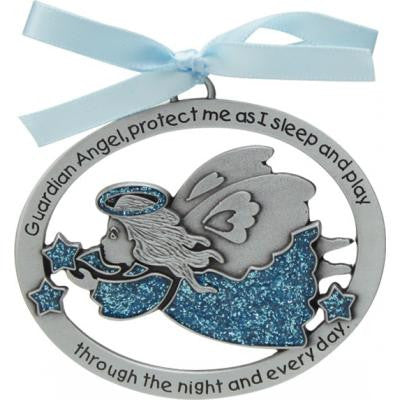 Blue Epoxy Angel Crib Medal W/Blue Ribbon